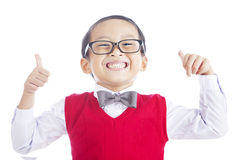 Lyckad asiatisk schoolboy arkivfoton