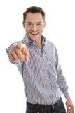 Lyckad attraktiv affärsman i blått peka finger på ca Arkivbilder