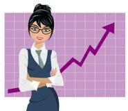 Lyckad graf för affärskvinna Royaltyfria Foton