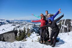 Lyckad grupp av vänner på bergöverkant arkivbild