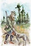 Lyckad jakt royaltyfri illustrationer