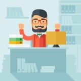Lyckad kontorskontorist Arkivfoto