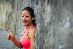 Lyckad kvinnlig idrottsman nen Arkivfoto