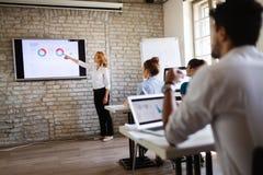 Lyckad lycklig grupp människor som lär programvaruteknik och affär under presentation royaltyfria bilder