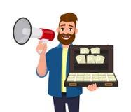 Lyckad man som rymmer en megafon eller en högtalare och mycket visar påsen, resväska/portfölj av kassa, pengar, dollar, valuta, b royaltyfri illustrationer