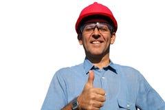 Lyckad tekniker Showing Ok Sign Fotografering för Bildbyråer