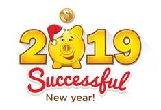 2019 lyckade nya år stock illustrationer