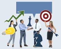 Lyckat affärsfolk med strategiska plan arkivfoton
