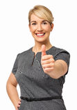 Lyckat affärskvinnaShowing Thumbs Up tecken Arkivbilder