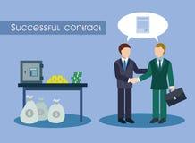 Lyckat avtal och många pengar Arkivbild