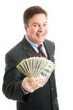 lyckat för kontant pengar för affärsman rikt Royaltyfri Foto