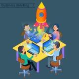 Lyckat isometriskt begrepp för affärsmöte Grupp av arbetare stock illustrationer