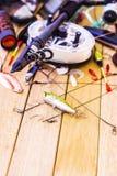 lyckat redskap för stor fiskespinner Arkivbild