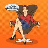 Lyckat sammanträde för affärskvinna i lyxig stol Popkonst stock illustrationer