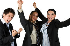 Lyckat spännande folk med seger i affär Royaltyfri Bild
