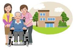 Lycklig äldre man i rullstol med hans familj och sjuksköterska Royaltyfri Foto