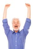 Lycklig äldre man med skägget Royaltyfri Foto
