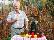Lycklig äldre man med skördar Arkivfoto