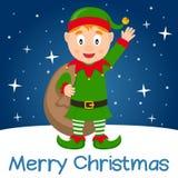 Lycklig älva för blå julkort Arkivfoton
