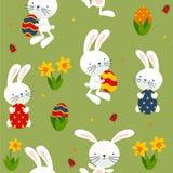 Lycklig ätare med kaniner, påskliljor, ägg royaltyfri illustrationer