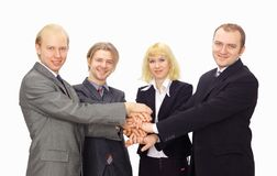lycklig övre sikt för affärskollegor royaltyfria foton
