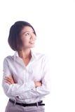 Lycklig affärskvinna Arkivbild