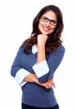 Lycklig affärskvinna. Arkivfoto