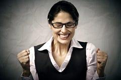 Lycklig affärskvinna. Arkivfoton