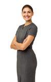 Lycklig affärskvinna With Arms Crossed Arkivbild