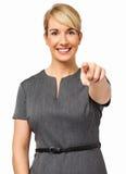 Lycklig affärskvinna Pointing At You Fotografering för Bildbyråer
