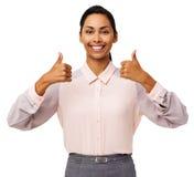 Lycklig affärskvinna Showing Thumbs Up Arkivfoto