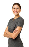 Lycklig affärskvinna Standing Arms Crossed Arkivbilder