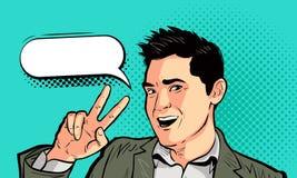 Lycklig affärsman eller ung man i retro komisk stil för popkonst Seger framgång, segerbegrepp den främmande tecknad filmkatten fl vektor illustrationer