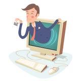 Lycklig affärsman för internetaffärsidé med Arkivbild