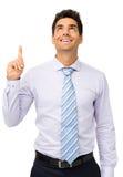 Lycklig affärsman With An Idea som ser upp Fotografering för Bildbyråer