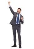 Lycklig affärsman med händer upp Royaltyfria Foton