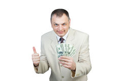 Lycklig affärsman med pengar Arkivbild