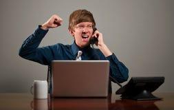Lycklig affärsman på telefonen Royaltyfri Foto