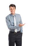 Lycklig affärsman Presenting Arkivfoto