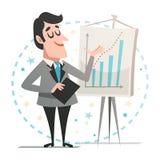 Lycklig affärsman som ger en presentation som visar en graf Arkivfoton