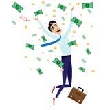 Lycklig affärsmanbanhoppning med pengar Royaltyfri Foto