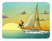 Lycklig affärsmansegling på hans yacht royaltyfri illustrationer