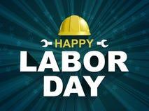 Lycklig affisch för arbets- dag med den gula säkerhetshjälmen stock illustrationer