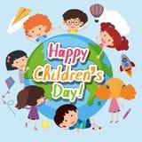 Lycklig affisch för dag för barn` s med lyckliga ungar runt om världen vektor illustrationer