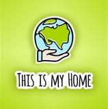 Lycklig affisch för jorddag Hand-dragen jord i hand Linje vektorsymbol av jorden vektor illustrationer