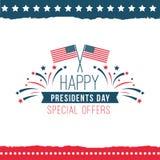 Lycklig affisch för specialt erbjudande för presidentdag Royaltyfri Fotografi