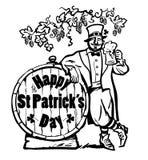 lycklig affisch för st-patricksdag Trollteckenet som rymmer öl, rånar att luta på trumma med text under filialerna av stock illustrationer