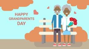 Lycklig afrikansk amerikan för baner för ferie för kort för morförälderdaghälsning Fotografering för Bildbyråer