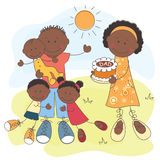 lycklig afrikansk amerikanfamilj Royaltyfria Bilder