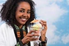 Lycklig afrikansk flicka Fotografering för Bildbyråer